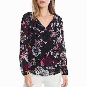 Black Pink Yellow Gray WHBM Floral Ruffle Top XS